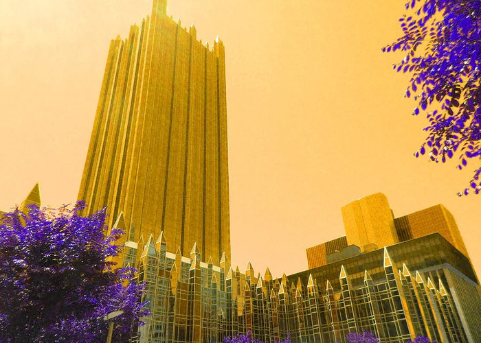 Towers Greeting Card featuring the digital art Tower Gold by Joseph Wiegand