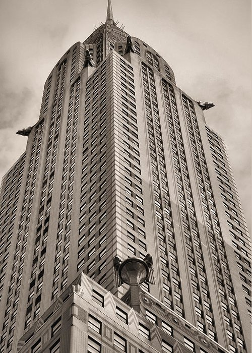 Towehrysler Building Greeting Card featuring the photograph Towering Bw by JC Findley