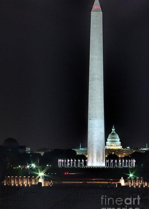 Washington Dc Greeting Card featuring the photograph Towering Washington Monument by Izet Kapetanovic