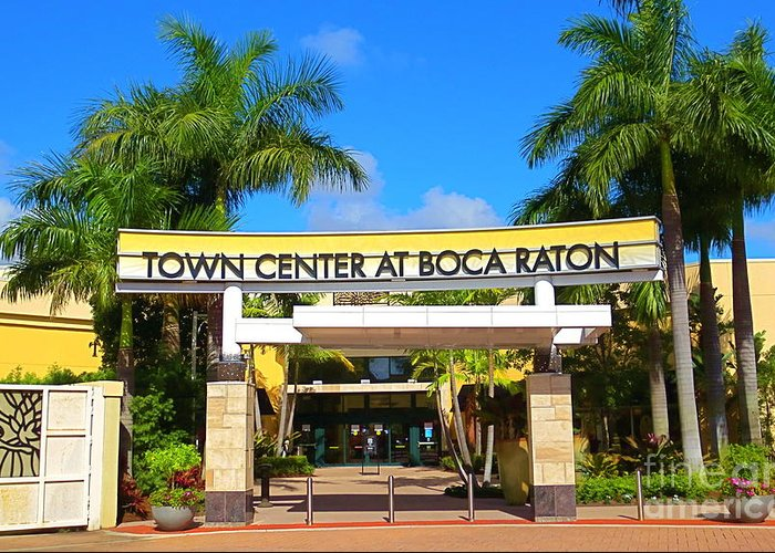 Boca Raton Shopping >> Town Center At Boca Raton Florida Shopping Center One Of Several Mall Entrances Greeting Card