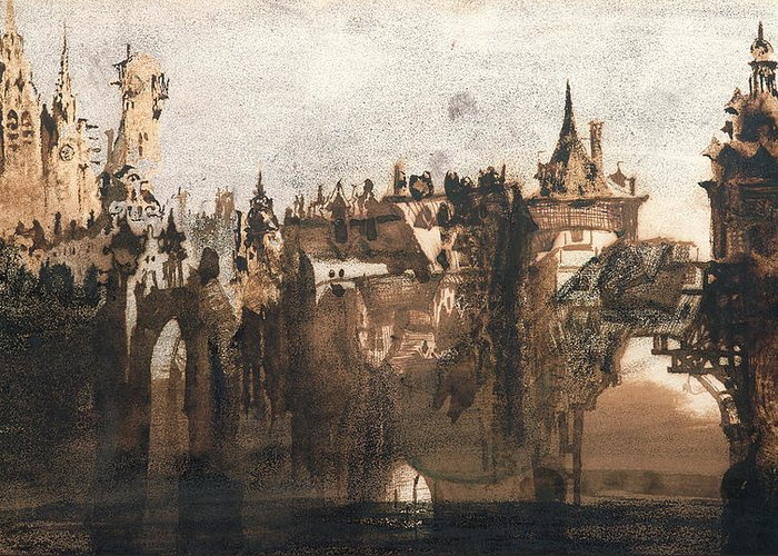 Victor Hugo Greeting Card featuring the painting Town With A Broken Bridge by Victor Hugo