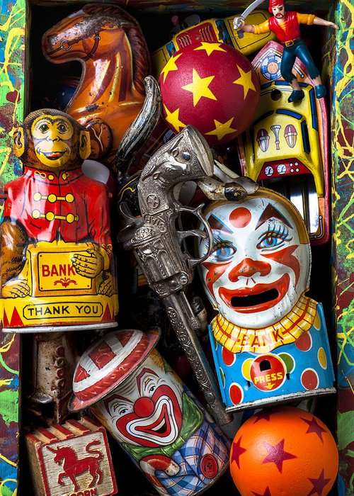Clown Greeting Card featuring the photograph Toy Box by Garry Gay