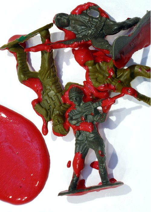 Aggression Greeting Card featuring the photograph Toy Soldiers In A Pool Of Blood by Amy Cicconi