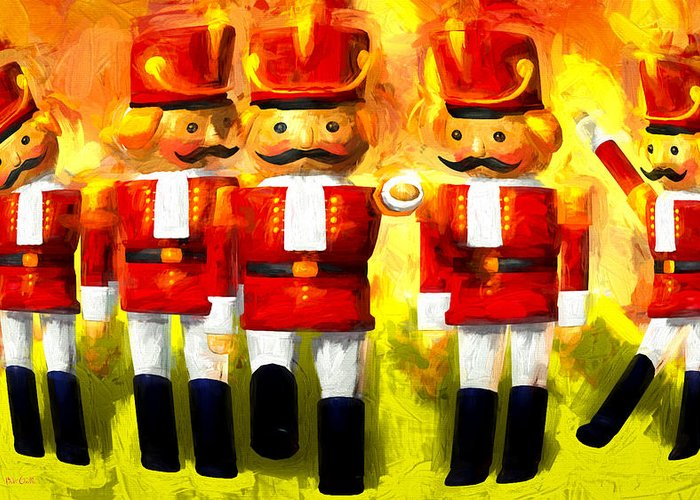 Toy Soldiers Greeting Card featuring the painting Toy Soldiers Nutcracker by Bob Orsillo