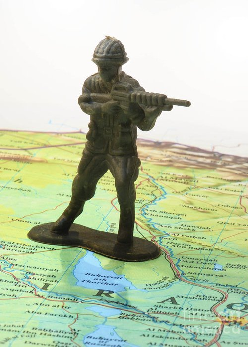 Aggression Greeting Card featuring the photograph Toy Solider On Iraq Map by Amy Cicconi