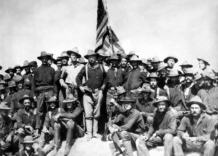 Teddy Roosevelt Greeting Card featuring the photograph Tr And The Rough Riders by War Is Hell Store