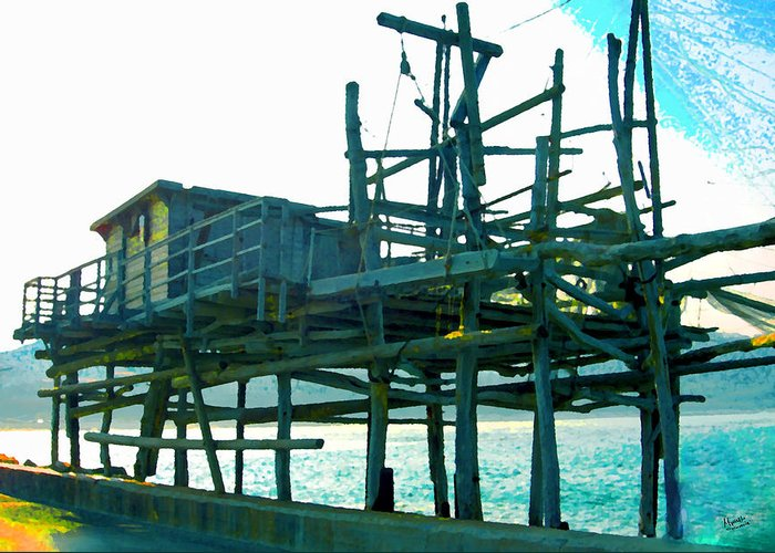 Fishermen Greeting Card featuring the photograph Trabocco 3 - Fishermen Stuff by Marcello Cicchini