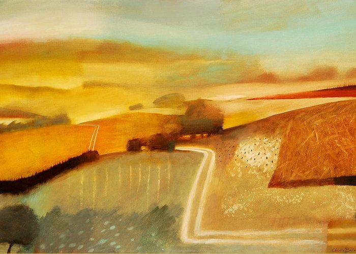 Country; Rural; Road; Lane; Field; Fields; Hedge; Hedges; Summer; Sun; Atmospheric; Environmental Greeting Card featuring the painting Track by Charlie Baird