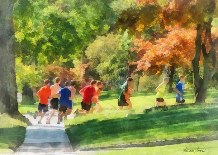 Track And Field Greeting Card featuring the photograph Track Team by Susan Savad