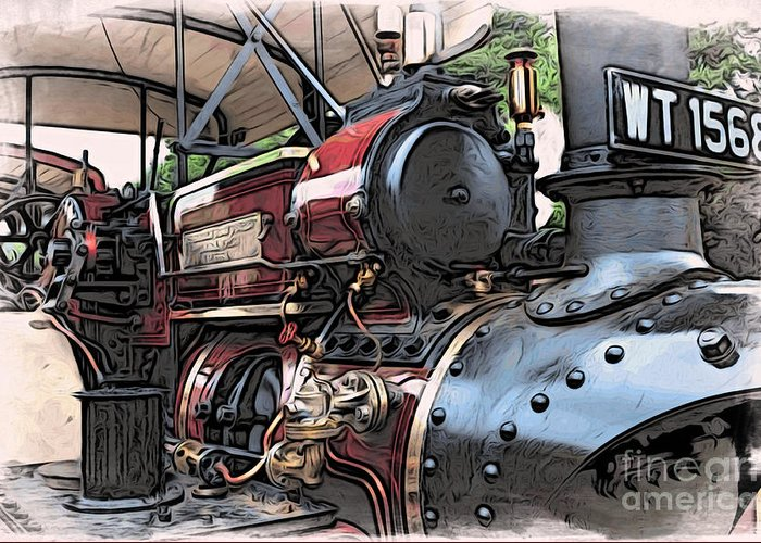 Automotive Greeting Card featuring the digital art Traction Engine 2 by Paul Stevens