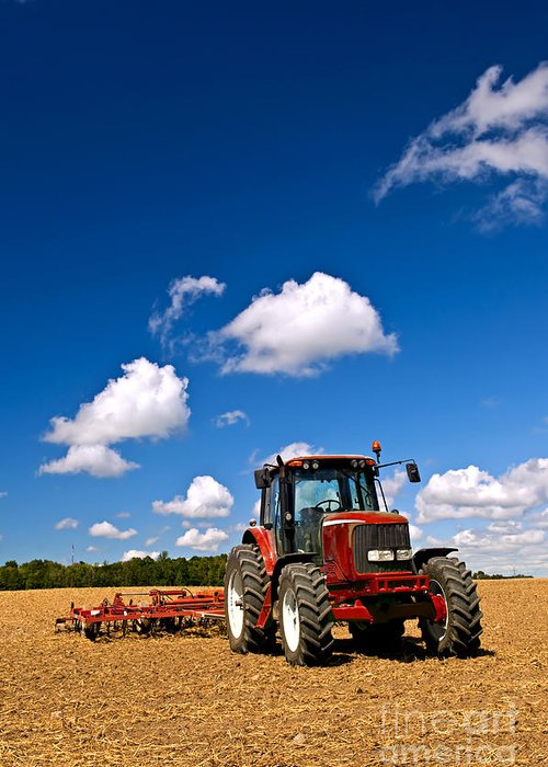 Tractor Greeting Card featuring the photograph Tractor In Plowed Field by Elena Elisseeva