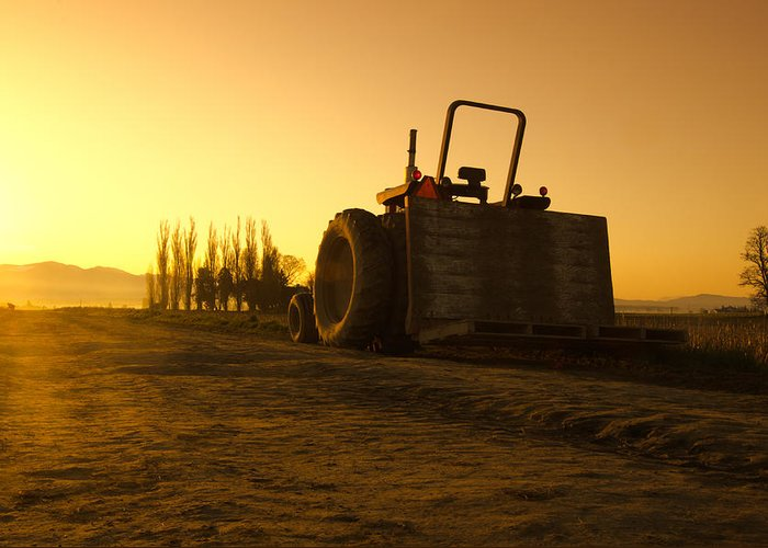 Farm Greeting Card featuring the photograph Tractor Sunrise by Puget Exposure