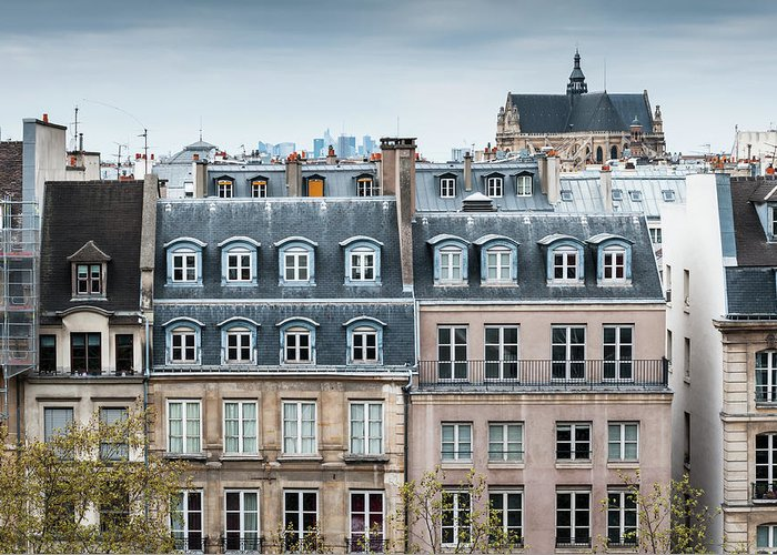 Built Structure Greeting Card featuring the photograph Traditional Buildings In Paris by Mmac72