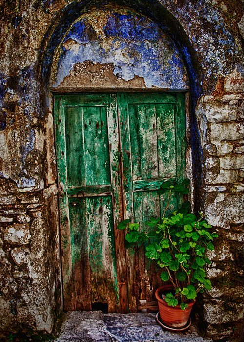 Old Greeting Card featuring the photograph Traditional Door by Emmanouil Klimis