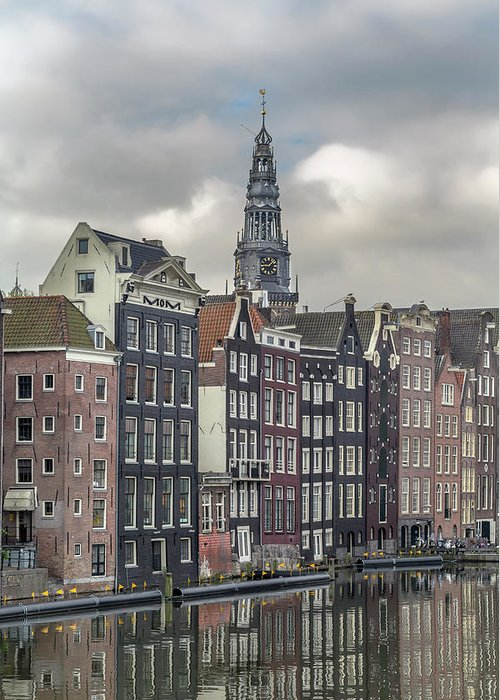 In A Row Greeting Card featuring the photograph Traditional Dutch Houses Over A Canal by Buena Vista Images
