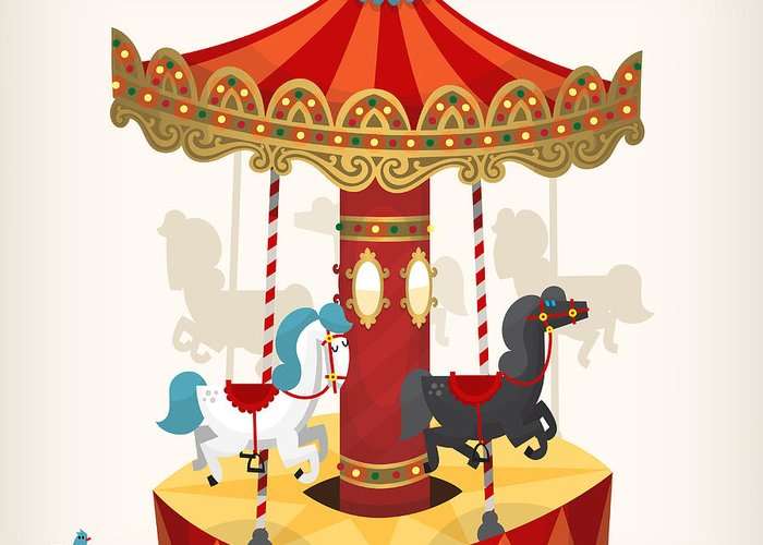 Play Greeting Card featuring the digital art Traditional Funfair Amusement Horse by Yauhen Paleski
