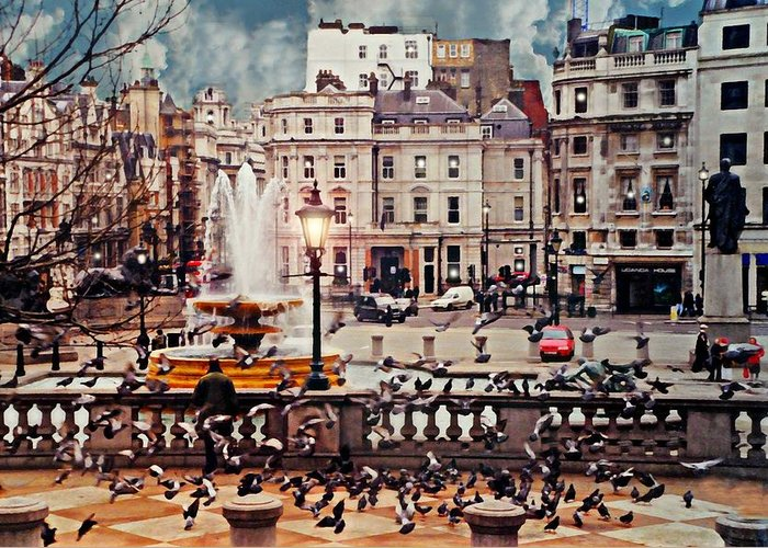 Trafalgar Square Greeting Card featuring the photograph Trafalgar Square London by Diana Angstadt
