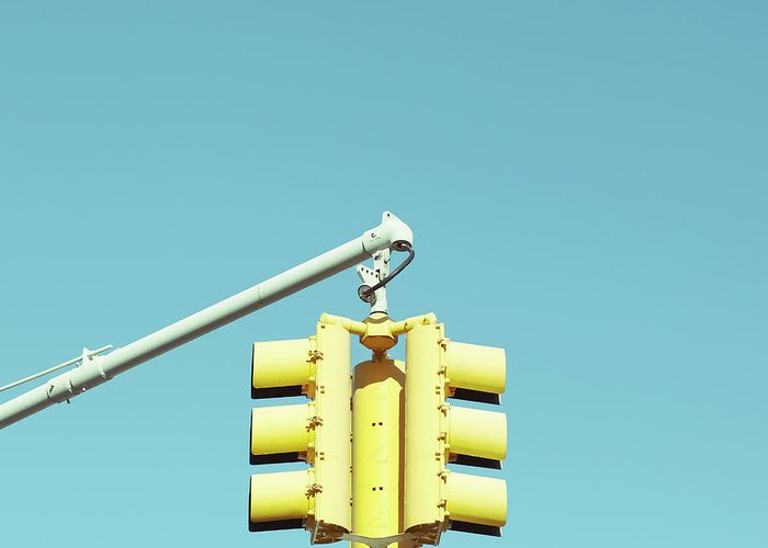 Clear Sky Greeting Card featuring the photograph Traffic Light by Justinwaldingerphotography