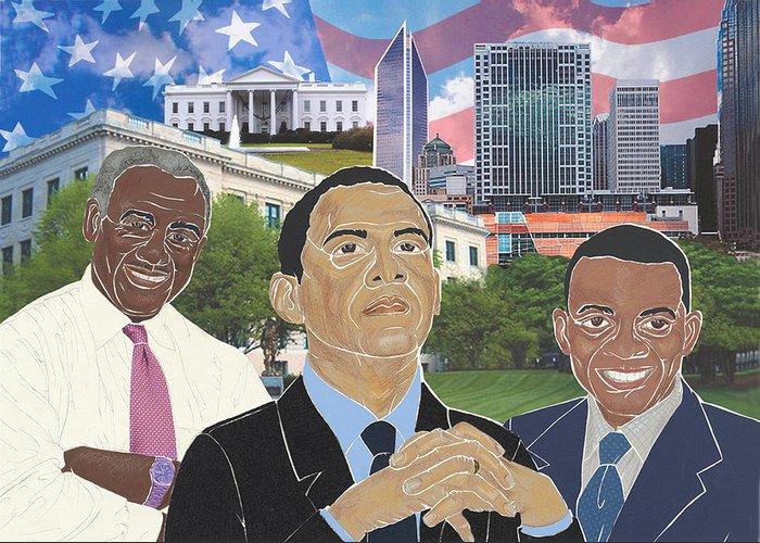 Harvey B. Gantt Greeting Card featuring the mixed media Trailblazers 2012 by Martha Rucker