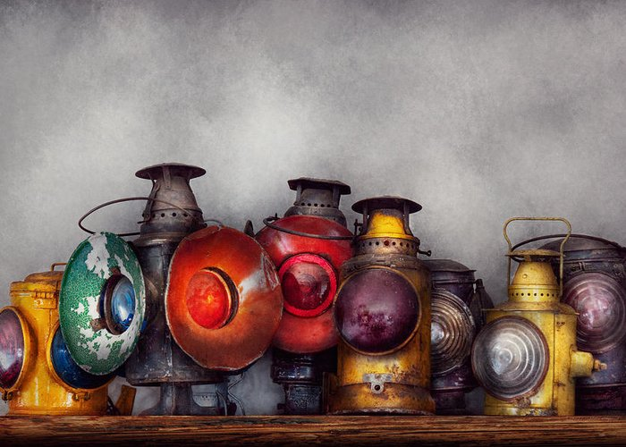 Lantern Greeting Card featuring the photograph Train - A Collection Of Rail Road Lanterns by Mike Savad