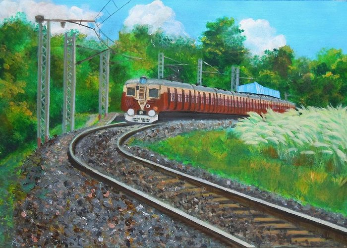 Train Greeting Card featuring the painting Train by Adhijit Bhakta