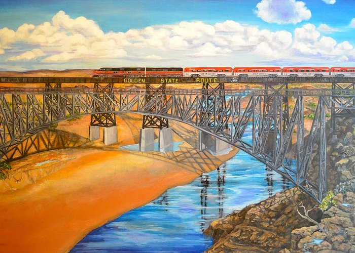 Bridge Greeting Card featuring the painting Train And Terrain by Judith Killgore