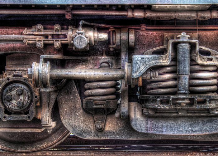 Savad Greeting Card featuring the photograph Train - Car - Springs And Things by Mike Savad