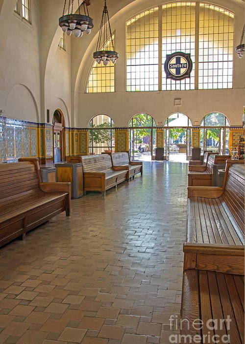 Santa Fe Train Station Greeting Card featuring the photograph Train Depot San Diego by Baywest Imaging