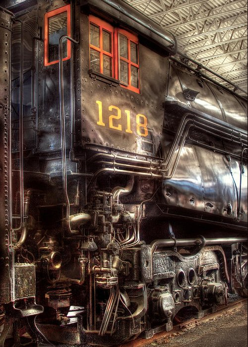 Savad Greeting Card featuring the photograph Train - Engine - 1218 - Norfolk Western - Class A - 1218 by Mike Savad