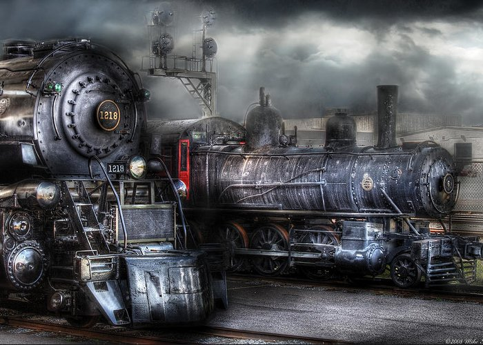 Savad Greeting Card featuring the photograph Train - Engine - 1218 - Waiting For Departure by Mike Savad