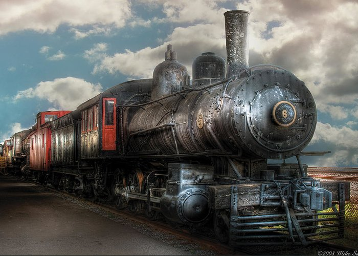 Savad Greeting Card featuring the photograph Train - Engine - 6 Nw Class G Steam Locomotive 4-6-0 by Mike Savad