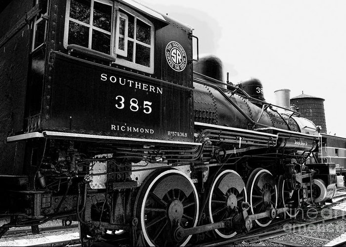 Train Engine For Sale >> Train Engine Black And White Greeting Card For Sale By Paul Ward