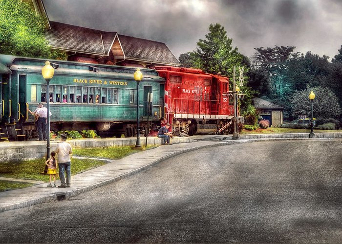 Savad Greeting Card featuring the photograph Train - Engine - Black River Western by Mike Savad
