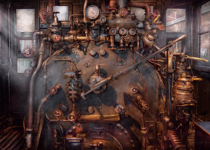 Savad Greeting Card featuring the photograph Train - Engine - Hot Under The Collar by Mike Savad