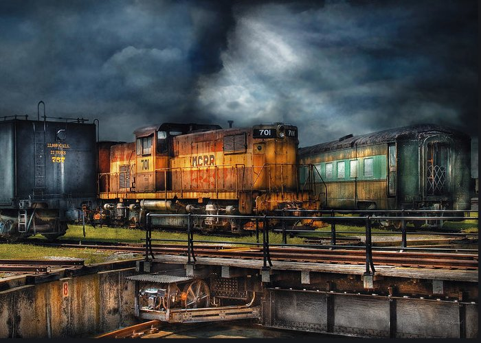 Savad Greeting Card featuring the photograph Train - Let's Go For A Spin by Mike Savad