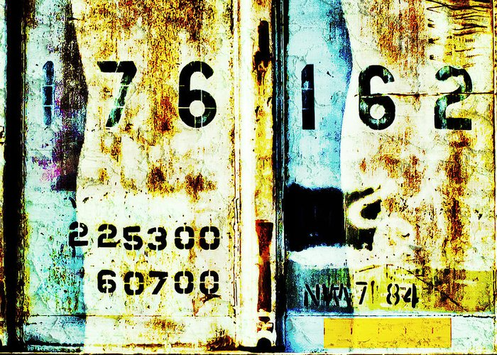 Train Plate Greeting Card featuring the photograph Train Plate 3 by April Lee
