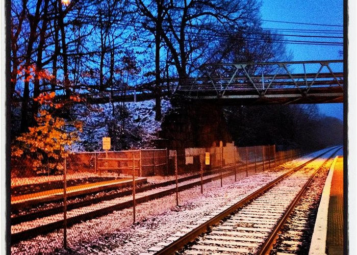 Train Station Greeting Card featuring the photograph Train Station First Snow by Mark Valentine