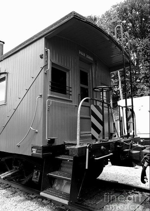 Paul Ward Greeting Card featuring the photograph Train - The Caboose - Black And White by Paul Ward