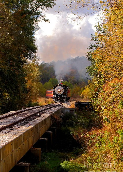 Brakeman Greeting Card featuring the photograph Train Through The Valley by Robert Frederick