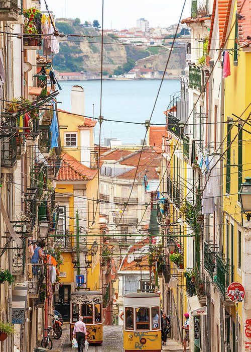 People Greeting Card featuring the photograph Tram, Barrio Alto, Lisbon, Portugal by Peter Adams