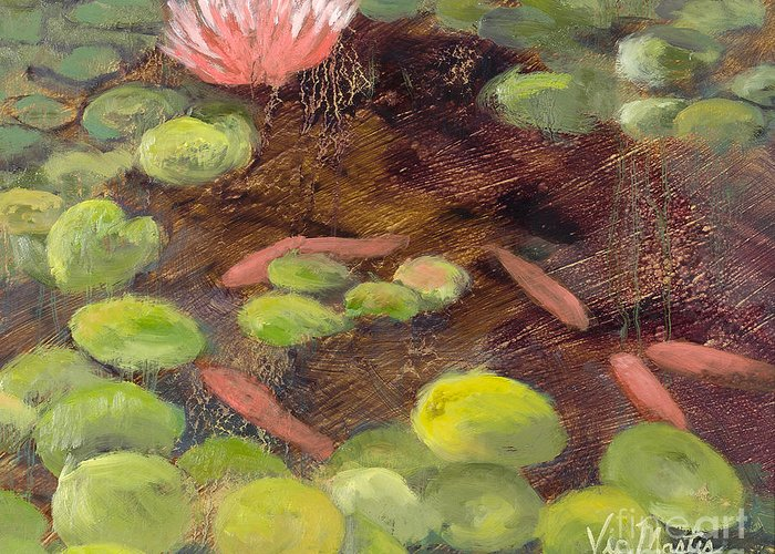 Lily Pad Greeting Card featuring the painting Tranquil Moments-rectangle With Gold Leaf By Vic Mastis by Vic Mastis