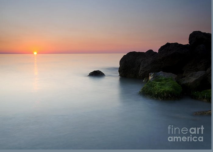 Beach Greeting Card featuring the photograph Tranquil Sunset by Mike Dawson