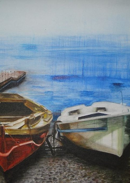 Landscape Greeting Card featuring the painting Tranquility Till Tide From The Farewell Songs by Prasenjit Dhar