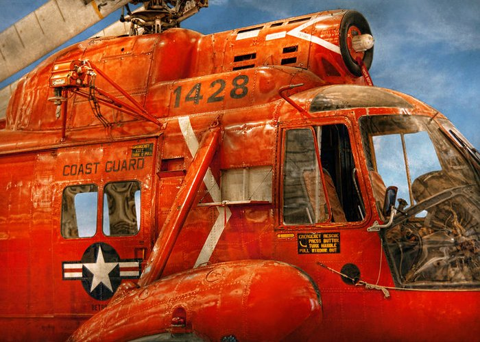 Savad Greeting Card featuring the photograph Transportation - Helicopter - Coast Guard Helicopter by Mike Savad