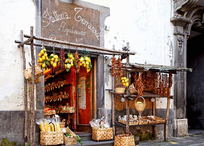 Store Greeting Card featuring the photograph Tratorria In Italy by Susan Schmitz