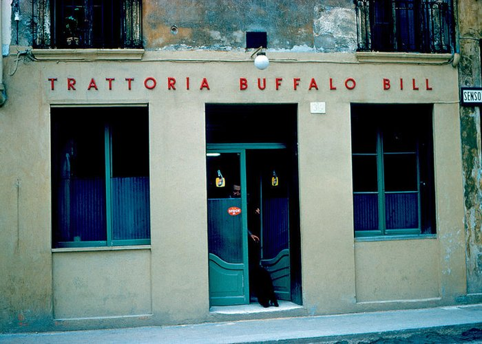 Vicenza Greeting Card featuring the photograph Trattoria Buffalo Bill 1962 by Cumberland Warden