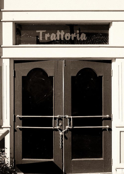 Downtown Palm Springs Greeting Card featuring the photograph Trattoria Door Palm Springs by William Dey