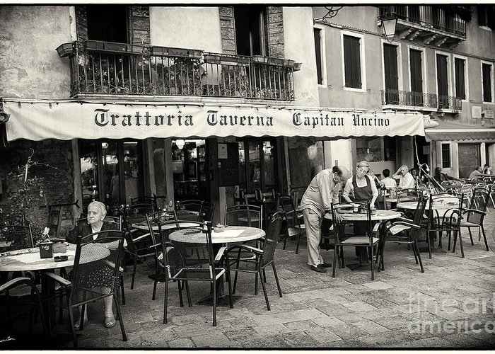 Venice Greeting Card featuring the photograph Trattoria In Venice by Madeline Ellis