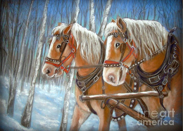 Horse Greeting Card featuring the pastel Travel Companions by Sharon Schumann