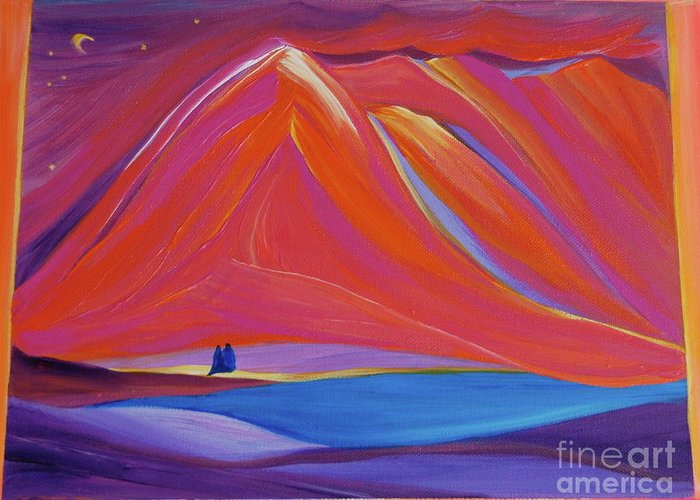 Mountains Greeting Card featuring the painting Travelers Pink Mountains by First Star Art
